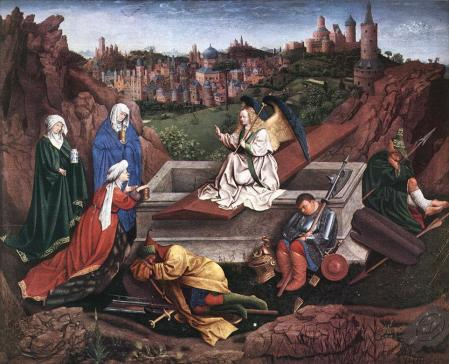 van Eyck, Les trois Marie devant le tombeau vide, 1425-1435, Pays-Bas