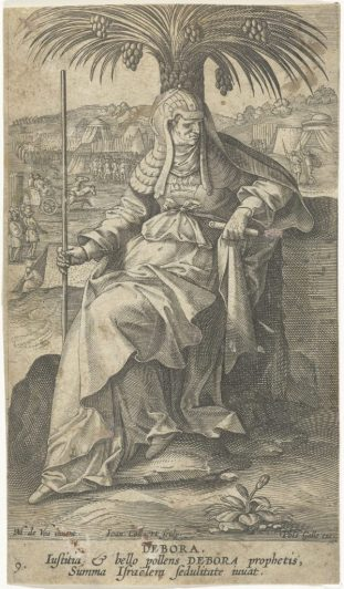 Jan Collaert, Débora sous son palmier, d'après Maerten de Vos, 1588 – 1595