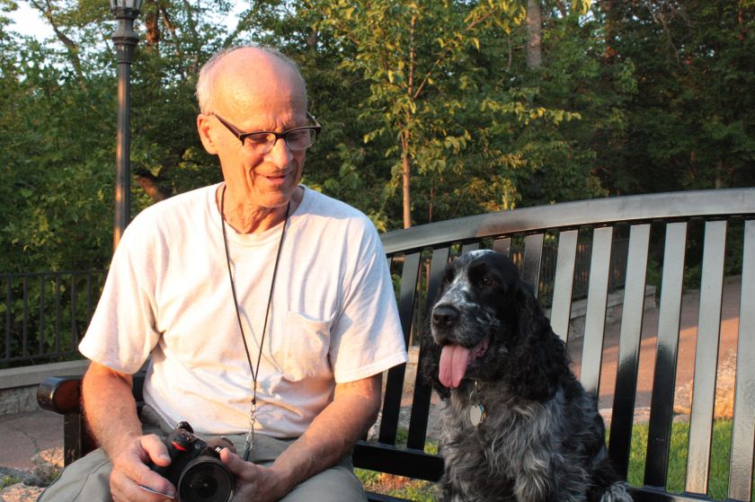 Peter Herzog and Bess, his English Cocker Spaniel in the shadow of Shadow Falls.