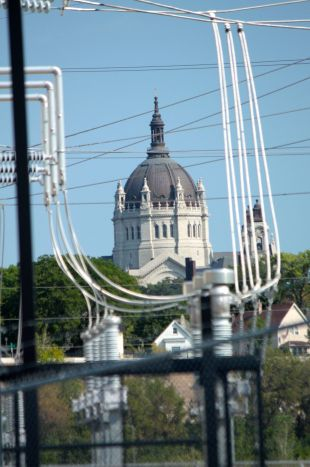 The Cathedral of Saint Paul is framed by electrical components at the High Bridge Power Plant.