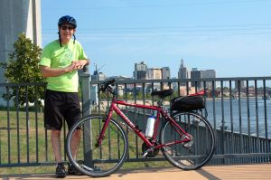 My bike and I pose across the street from the High Bridge Power Plant with Downtown in the background.