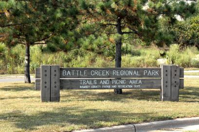 The main entrance to Battle Creek Regional Park and where I crossed under Highway 61 from Point Douglas Road to the bike path.