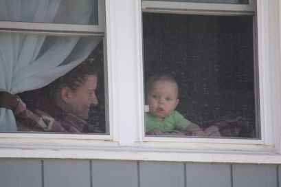 And on the same block, a baby and mom enjoyed the wonderful weather.