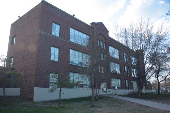 The original part of Adams School building, named for President John Quincy Adams.