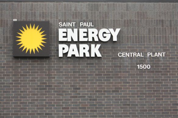 The St. Paul Port Authority owns the Energy Park Utility Company. From this plant the utility provides heating and cooling to in Energy Park through hot and cold water. Check out the '80s logo.