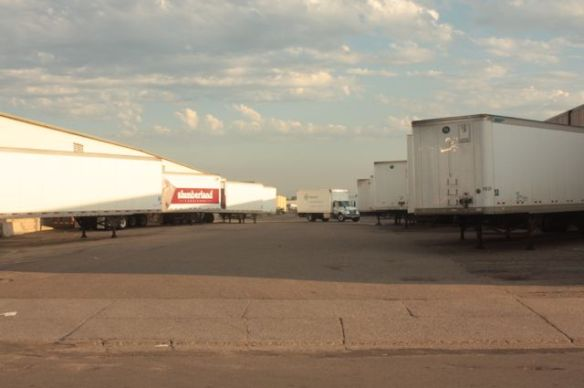 Trailers ready for loading nearly hide two Ellis Avenue warehouses.