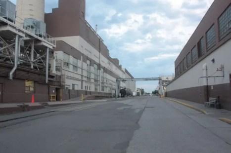 Between two plant buildings