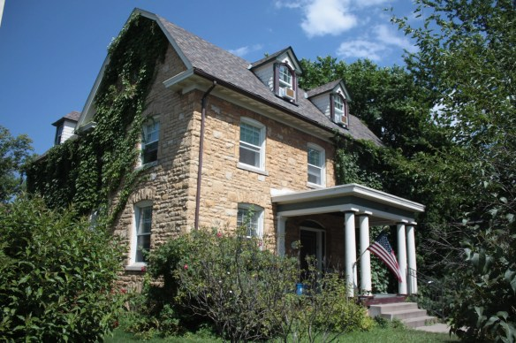 This stone house, faced in Mankato limestone, at 625 Marshall served as the parsonage house for the nearby Lutheran Church of the Redeemer on Dale1, Gideon and Mary Ivins House.