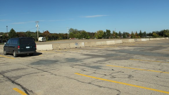This large and nearly empty parking lot is just west of National Car Rental.