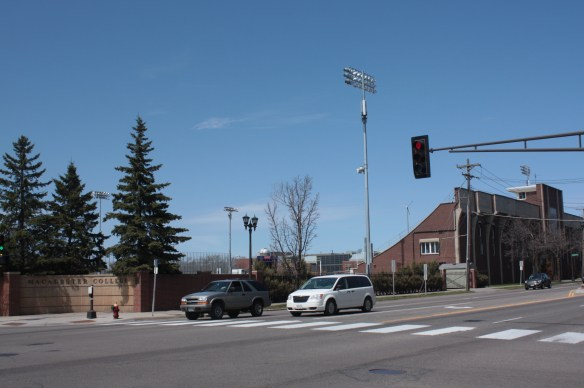 Macalester College stadium abuts the northwest corner of Snelling and St. Clair.