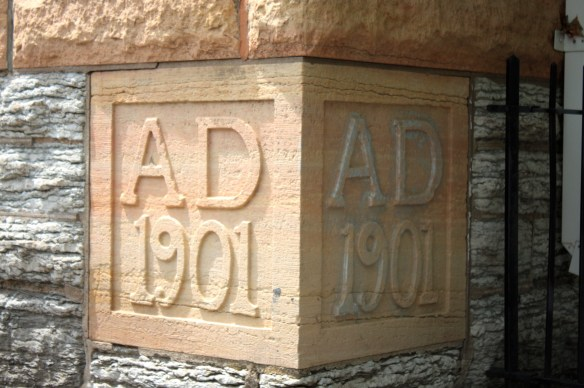 The cornerstone of the former St. Adalbert School.
