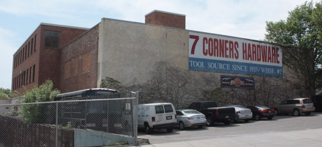 One of the Seven Corners Hardware warehouses as seen from Eagle Street