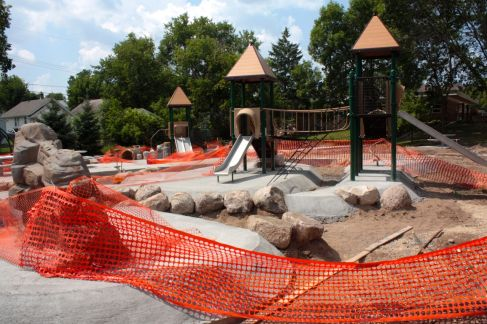 Now north of University Avenue, I found Griggs Playground in the midst of renovation at North Dunlap and West Hubbard. (Griggs Avenue borders the western side of the playground, hence the name.