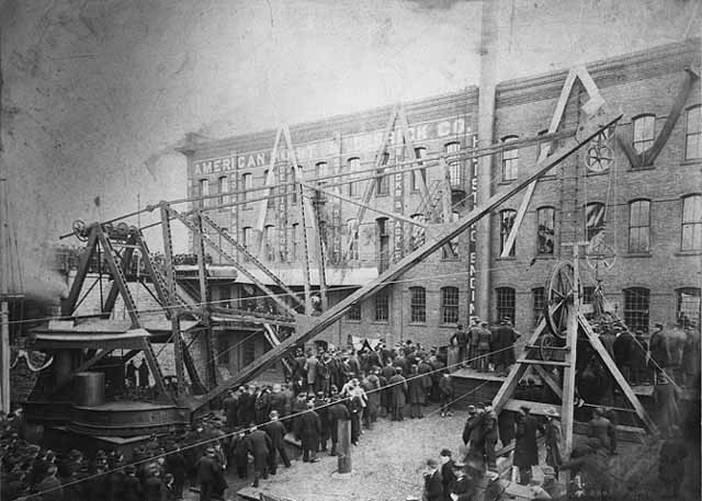Construction of an American Hoist and Derrick plant circa 1895. Photo courtesy Minnesota Historical Society.