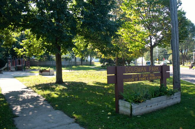 Dousman Park is half-acre space at Dousman and Goodhue Streets with a small playground.