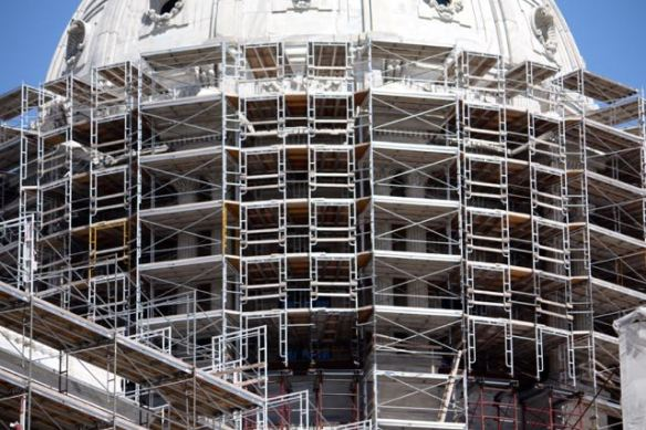 The labyrinthine scaffold surrounds the dome.