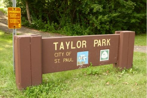 One of two entrances to Taylor Park in Highwood Hills.