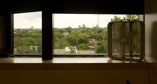 ...but the great view remains. The windows still look toward Lexington Parkway and beyond, to Downtown.