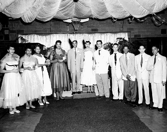 For many years, Hallie Q. Brown was a social hub for Rondo area residents. This is the annual Miss Hallie Q. Brown and Mr. Popularity contest from the mid-1950s. Courtesy Minnesota Historical Society