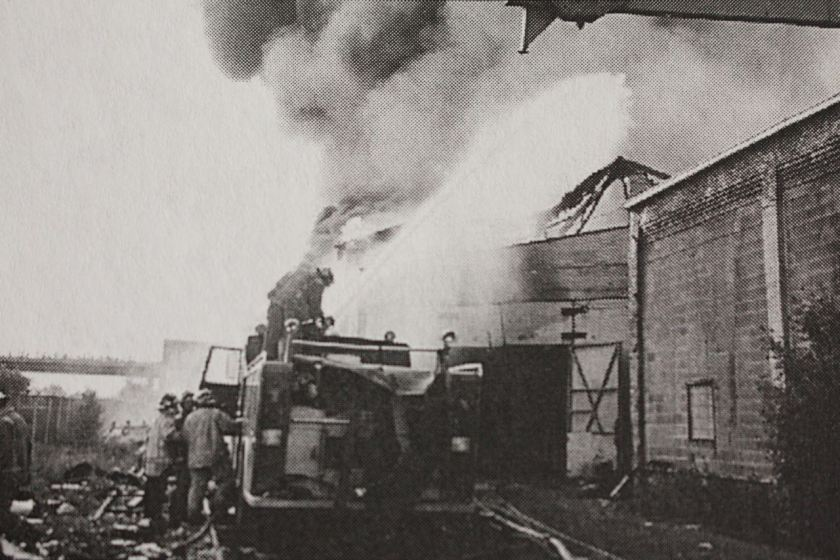 Firefighters battled an intense fire at a warehouse at the old Maxson Steel facilities. Photo courtesy Joseph Heitzinger, Richard L. Heath, The Extra Alarm Association of the Twin Cities, Inc.