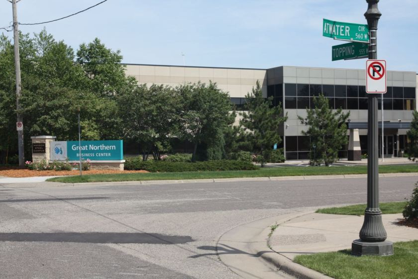 The entrance to Great Northern Business Center North at Topping Street and Atwater Circle.