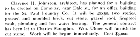 The Improvement Bulletin publication from December 22, 1910 mentioned the building would have plumbing and hot water heating, apparently luxuries at that time.