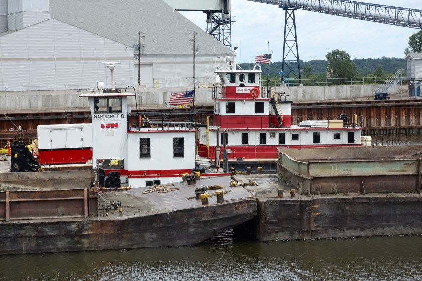 Two tugs sat idle, awaiting Monday.