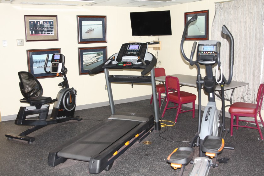 The modest exercise room is open to crew and visitors.
