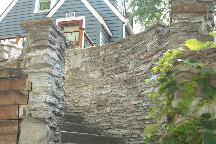 One gets the feeling of entering a castle when going from the sidewalk to the front of 1494 Carroll Avenue.