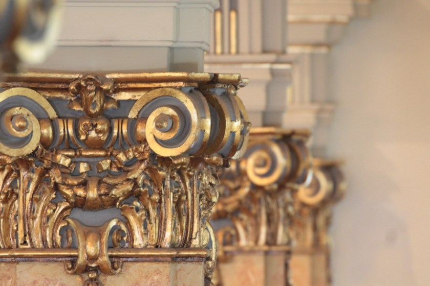 The detail on the scrolls that decorate Mexican onyx pillars in the chapel.