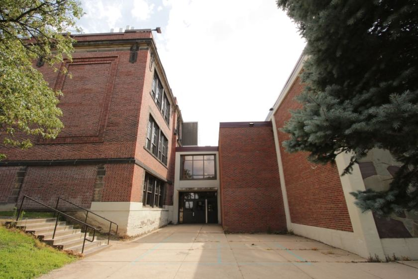 The north side of the Humboldt/Open World Learning campus. The 1909 building is on the left. The structure on the right, I believe, is part of a 1976 addition.