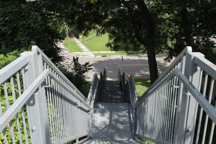 A walk down the stairs takes you to State Street and Morton.