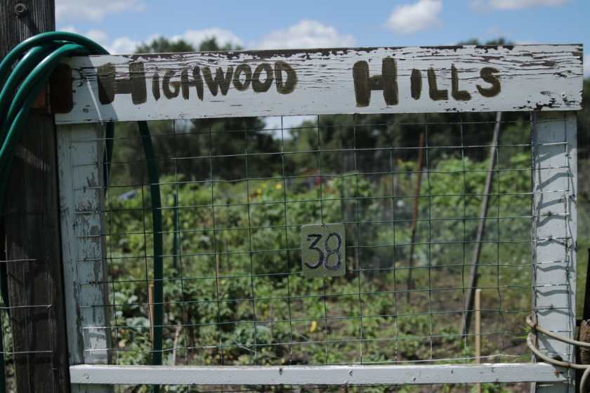 One of the gates into the two acre Highwood Hills (a.k.a. Battle Creek) Community Garden.