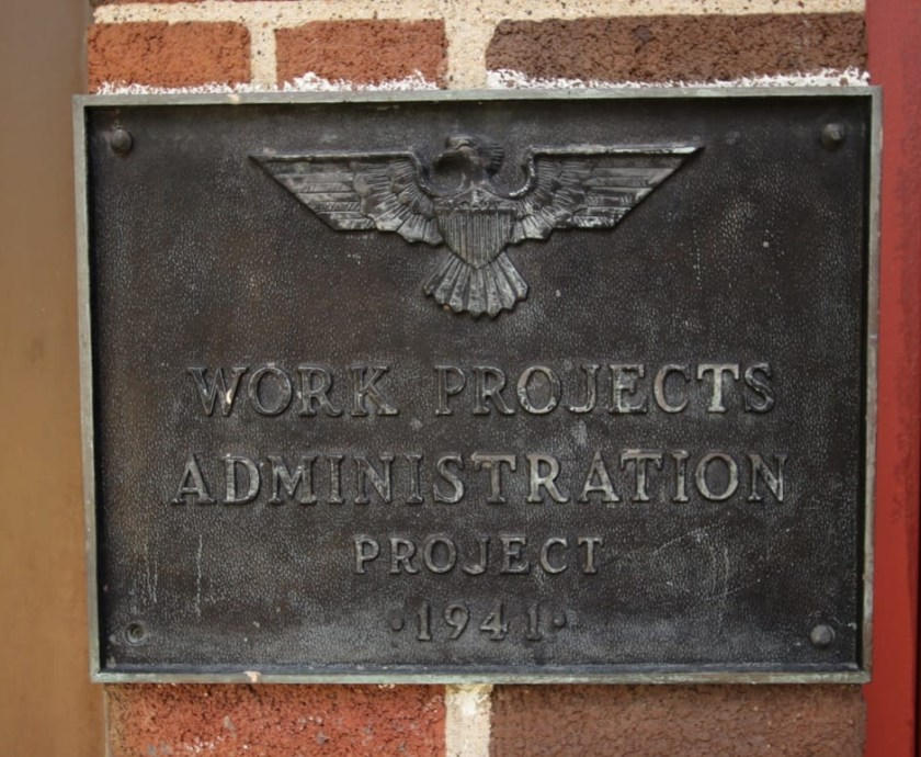 The WPA plaque on one of the buildings.