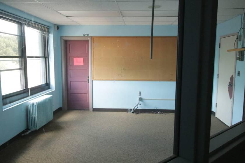 The barren third floor dorm office.