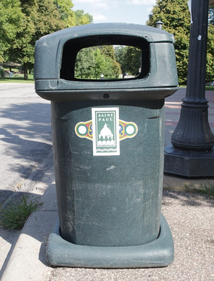 Puzzling, but good to buy used trash recepticles. This garbage can, in front of the park shelter, originally belonged to Miller Park, the Milwaukee Brewers baseball stadium.