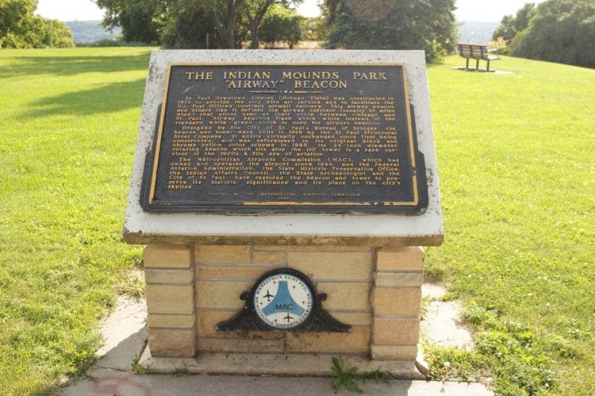 "The Metropolitan Airports Commission put in this plaque detailing the history of the Indian Mounds Park ""Airway"" Beacon."