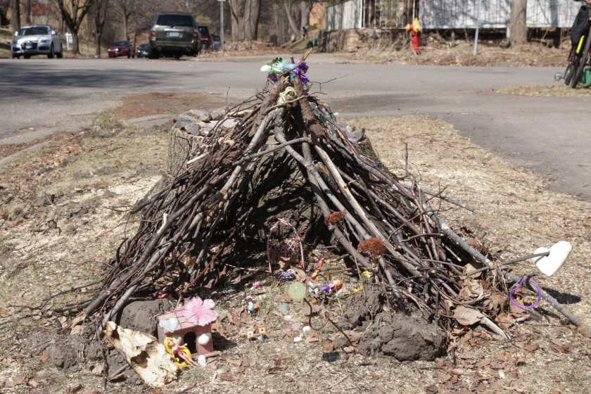 A child's fantasy world lived within the twig shelter.