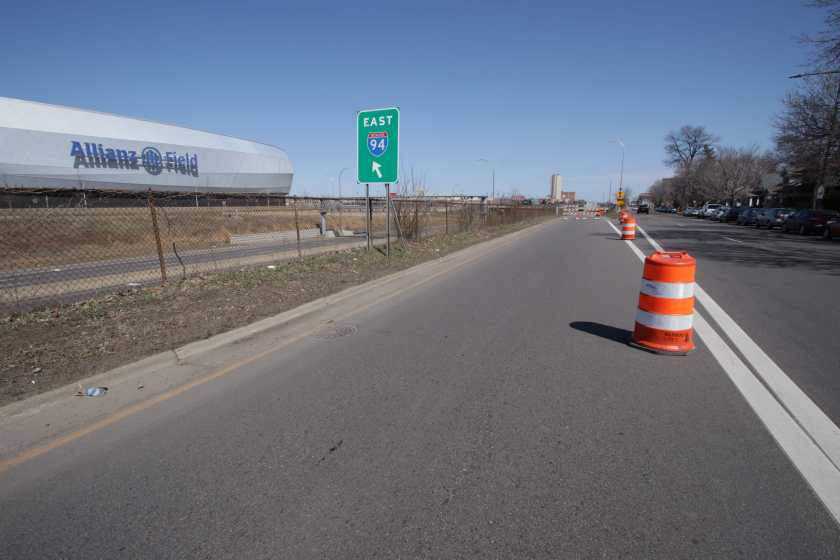 Barrels and barricades prevent motor vehicles from entering 94 east from Concordia Avenue just east of Snelling Avenue.