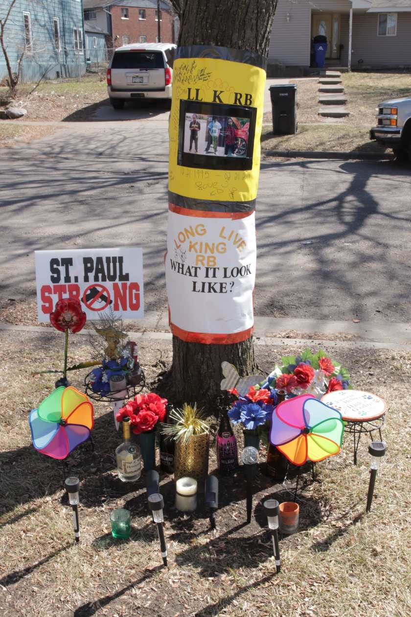 The memorial for Raytrell Benjamin, also known as King RB, who was shot to death the evening of February 21, 2019, near this spot on Carroll Avenue between Grotto and Avon Streets.