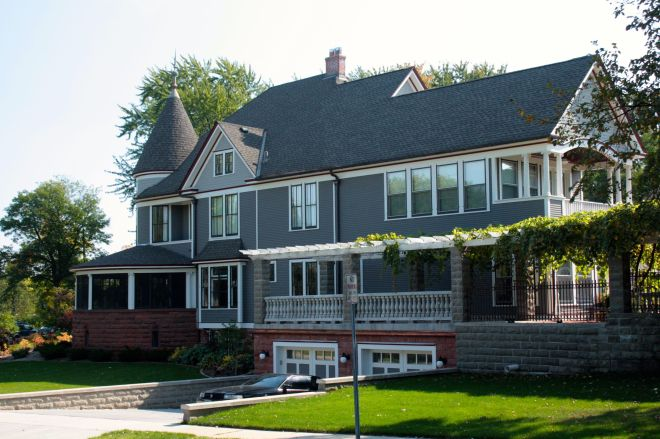 The size and character of the home becomes apparent when viewed from the side (the north.)