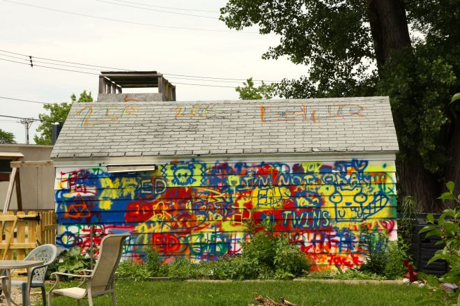 The gaudily painted garage belonging to 881 Otto Avenue appears to have been self-tagged.