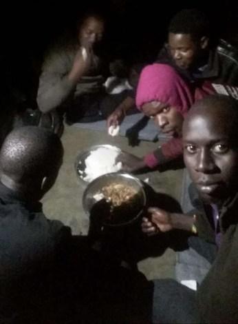 In Malawi, before their food ran out, several Ugandan LGBTI refugees from Kakuma Camp shared a meal with some Ugandan LGBTI refugees who came directly to Malawi from Uganda. (Photo courtesy of Refugee Flag Kakuma)
