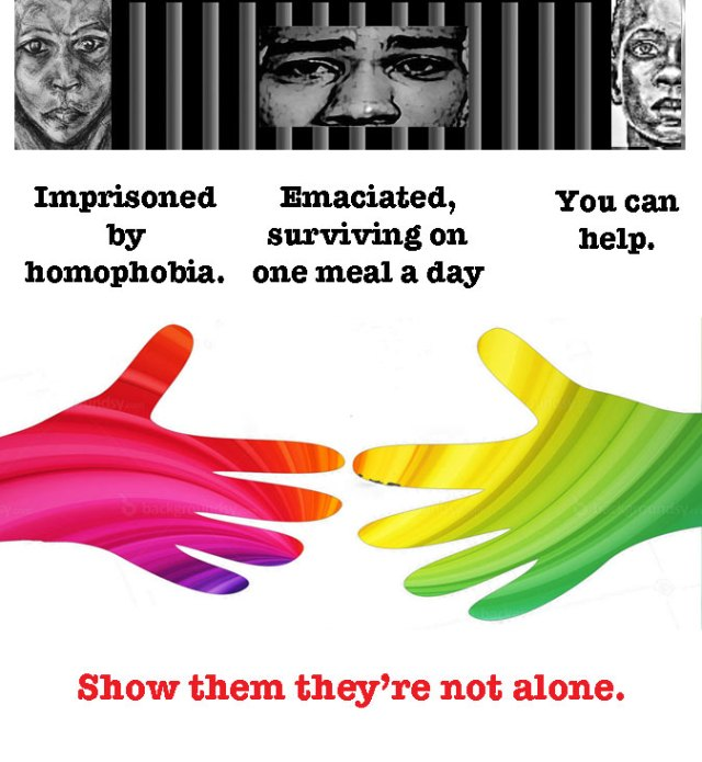 Click on the image to help support gay prisoners in Cameroon through the Pas Seul / Not Alone nutrition program.