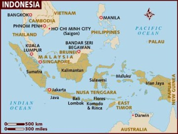 Map of Indonesia shows the location of Bali. (Map courtesy of Lonely Planet)