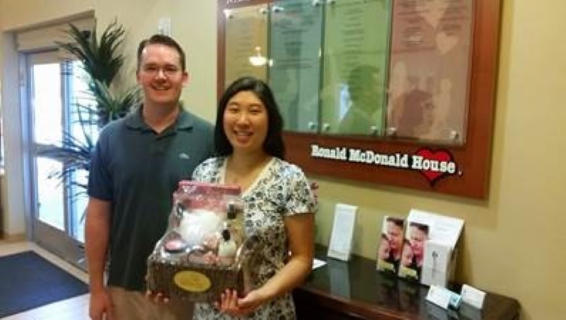 Rachel and Andrew Brammeier, parents of a preemie baby in Johns Hopkins All Children's Hospital, were delighted to receive a wonderful McDonald's gift basket presented to them at Ronald McDonald House of Tampa Bay in celebration of Mother's Day.
