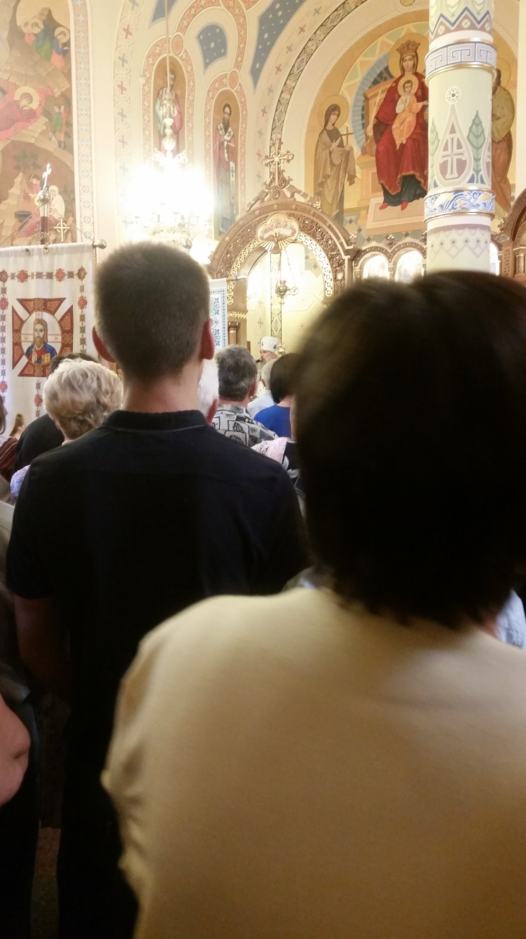 Bishop Benedict says his thank-yous and goodbyes to a crowded church.