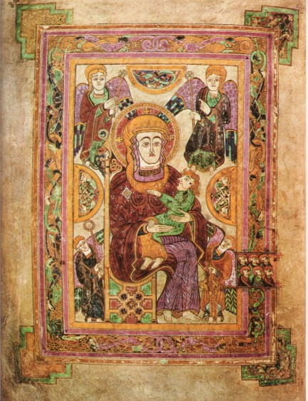 Virgin Mary with Infant Jesus from the Book of Kells. Trinity College, Dublin