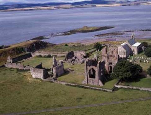 A view of the ruins of the abbey at Lindisfarne