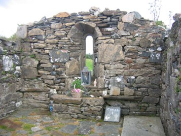 Ancient church where Columba was born in Garten, Ireland. A monastery likely was in this place also